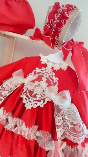 Ela Red Catalina Dress With Bonnet